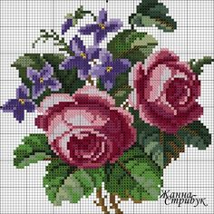 Roses and violets chart Counted Cross Stitch Patterns, Cross Stitch Designs, Cross Stitch Embroidery, Hand Embroidery, Cross Stitch Rose, Cross Stitch Flowers, Pixel Crochet, Cross Stitching, Needlework