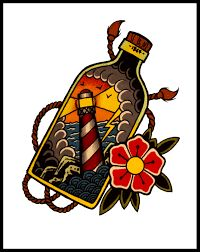 Resultado de imagen de ship in a bottle tattoo design