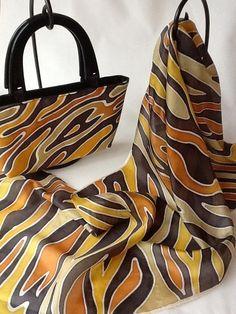 Matching set - hand painted silk scarf with handbag.: