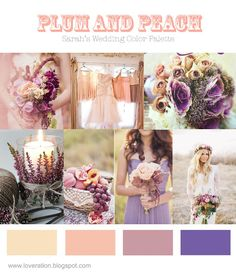 this is too pastel for me. i'm thinking deep, jewel toned plum and richer peach. also maybe yellow and add lemons?