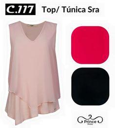 Top Túnica Sra simples e diferente C.117 Jeans 3 cores  Rosa Quartz -  Fúchsia - Preto  0531d4f2745
