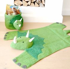 Perfect for a nursery or bedroom floor, this lovely Triceratops Dinosaur Animal Felt Rug from Fiona Walker will add character to the room. Boys Dinosaur Bedroom, Dinosaur Room Decor, Kids Bedroom Boys, Dinosaur Nursery, Kids Room, Toddler Rooms, Baby Boy Rooms, Dinosaur Crafts, Feltro