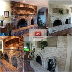 Spectacular transformation sent in to us by Marcie Davies. The beautiful fireplace before and after photos speak for themselves.  Here is what our customers are saying: http://www.brick-anew.com/testimonials-client-pictures  Check out our paint kit: http://www.brick-anew.com/fireplace-brick-paint-kit.html  Brick Painting A Coat Of Paint DIY Paint123 DoItYourself.com DIY - Do It Yourself Ideas #BrickFireplacePaint #Fireplacepainting