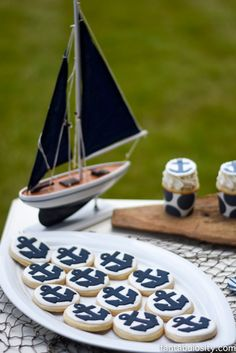 Nautical Birthday Party Ideas, for a Boy or Girl!  Navy and White dessert table! http://fantabulosity.com