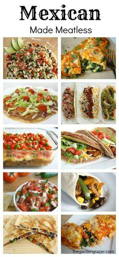 40+ meatless Mexican-inspired recipes including enchiladas, fajitas, quesadillas, salsas, burritos, tacos, etc.