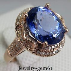 7.51Cts AAAA Oval 12*10MM Solid 14K Rose Gold Diamond Tanzanite ENGAGEMENT Ring