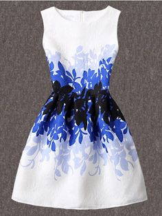 Leaves Print Jacquard A-Line Dress   WithChic