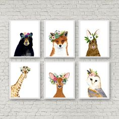 Animal print set Set of 6 Prints giraffe owl fox by zuhalkanar