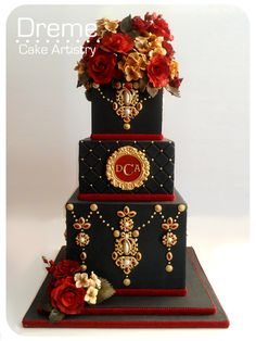 black red and gold wedding cake Beautiful Wedding Cakes, Gorgeous Cakes, Pretty Cakes, Amazing Cakes, Unique Cakes, Elegant Cakes, Creative Cakes, Crazy Cakes, Fancy Cakes