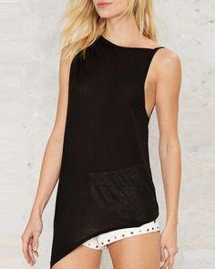 Irregular black backless tank top for women plain tank tops