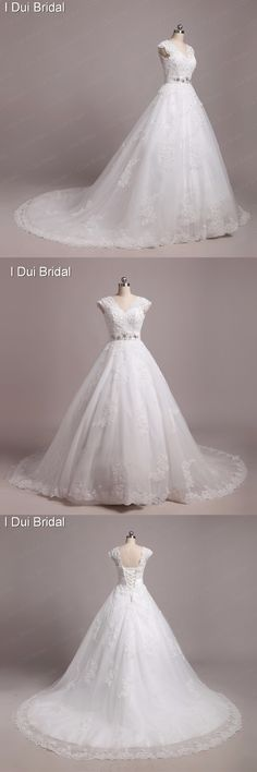 Wedding Dresses Real Photo Custom Make High Quality V Neck Cap Sleeve Lace Appliqued Beaded