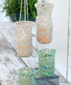 Crochet Hanging Luminaries - Free Red Heart Pattern. I want to make some of these for mason jar lanterns!