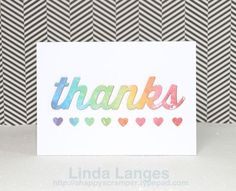 Watercoloured panels Thanks<3 card