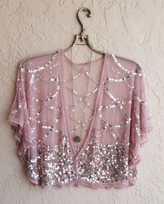 Blush Pink Sheer mesh Beaded great gatsby cape sleeve kimono crop top for Gypsy  reserved for Natasha