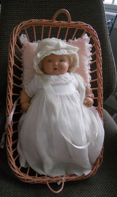 """Doll Composition LAMBKINS  Baby by Effanbee 1930s 15"""" in Basket  #Effanbee"""