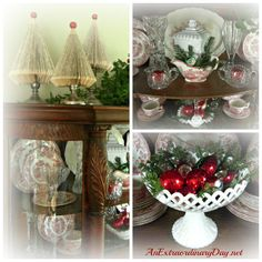 AnExtraordinaryDay.net | Dressing up a Vintage China Cabinet for Christmas - Inspired red & white