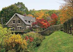 Beautiful fall garden along the Hudson River Valley