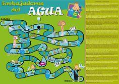 JUEGO_DE_MESA_PARA_EMBAJADORES_DEL_AGUA Spanish Games, Self Regulation, Smurfs, Recycling, Comics, Creative, Projects, Fictional Characters, Game Ideas