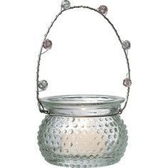 Clear Hanging Candle Holder and Vase (hobnail design).  Glass dimensions: 3 inches x 2.25 inches high. Playfully painted vintage vessels. Glass with beaded wire handles. Can be hung or placed on flat surface. Perfect for weddings! For use with tea light candles, battery lights or flowers.