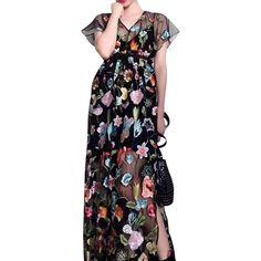 Black V-neck Embroidery Floral Side Split Sheer Mesh Maxi Dress (76 AUD) ❤ liked on Polyvore featuring dresses, gowns, floral embroidery dress, floral maxi dress, v neck maxi dress, v neckline dress and floral print maxi dress
