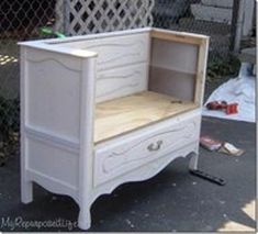 Repurposed chest of drawers into bench. Removed top & upper drawers; adorable for bedroom, dressing room, front porch, garden; cottage style; Upcycle, Recycle, Salvage, diy, thrift, flea, repurpose, refashion! For vintage ideas and goods shop at Estate ReSale & ReDesign, Bonita Springs, FL