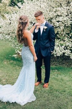 Light Blue Prom Dresses, Mermaid Prom Dress, Couple Poses, Prom Photos Mermaid Long Spaghetti Straps Light Blue Prom Dress with Appliques Prom Dress Green, Pretty Prom Dresses, Prom Dresses Blue, Mermaid Prom Dresses, Wedding Dresses, Lace Wedding, Backless Prom Dresses, Lace Evening Dresses, Prom Pictures Couples
