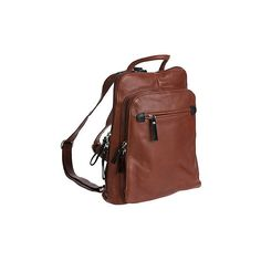 Macy Leather Backpack Handbag ($229) ❤ liked on Polyvore featuring bags, backpacks, zipper pouch, genuine leather backpack, leather rucksack, brown leather pouch and brown backpack