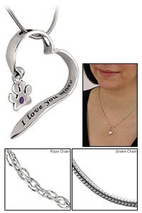 I Love You More Sterling Heart Paw Print Necklace at The Animal Rescue Site