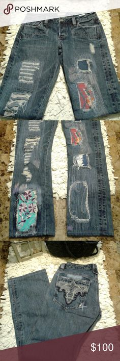 RARE Antik Batik Jeans. These jeans are distressed and light colored with colorful floral patchwork designs.   Born in Italy, Gabriella Cortese learned embroidery and dressmaking from her grandmother before moving to Paris to study art at age 18. Antik Batik was inspired by Cortese's travels and experiences: A job at the Crazy Horse in Paris revealed the sensuality of the body, Balinese artisans taught her the craft of Batik, and travels in India exposed her to exquisite hand-dyeing and…
