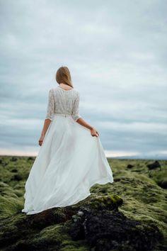 Milk shade high neckline lace dress