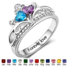 Personalized Birthstones Name Rings Couple Customize Promise Ring For Girlfriend