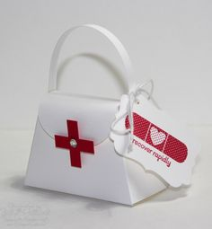 Being a Nurse I had to repin this one!.... Stampin' Up! Petite Purse Die  by Jill Hilliard: Get Well Nurses Bag