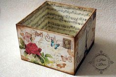 Discover thousands of images about Photo Decoupage Drawers, Decoupage Box, Decoupage Vintage, Cute Box, Pretty Box, Diy And Crafts, Paper Crafts, Creative Box, Altered Tins