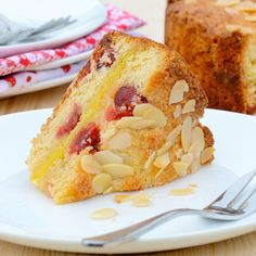 Marzipan and Cherry Cake Recipe - Delicious almond sponge with cherries and a layer of gooey marzipan in the centre.