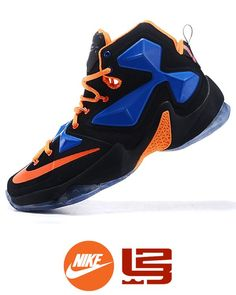 innovative design 277db dd7df Men s Nike LeBron James Black Blue Orange Shoes