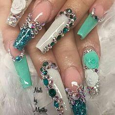 Coffin nails | nail art design ideas | long nails | bling nails | 3D nail art