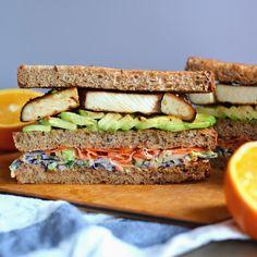 Vegan Orange-glazed tofu sandwich with tahini miso slaw | http://www.radiantrachels.com/orange-glazed-tofu-sandwich/