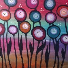 modern poppies acrylic painting