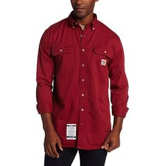 Carhartt Mens Big & Tall Flame Resistant Oakman Work Shirt,Dark Red... ❤ liked on Polyvore featuring men's fashion, men's clothing, men's shirts, men's casual shirts, big tall mens shirts, mens work shirts, mens big and tall shirts and mens shirts