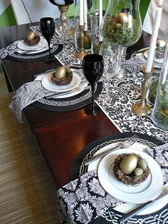Black and white table setting.