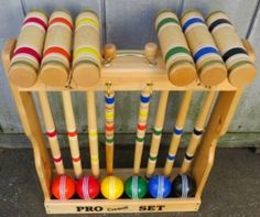 """Amish Handcrafted 6 Player 28"""" Pro Croquet Set Manufactured at an old order Amish homestead in Lancaster PA, each set is meticulously handcrafted to stand the test of time and use. Pride in craftsmans"""