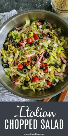 An Italian salad loaded with fresh goodness plus salami provolone pepperoncini and olives. Its light yet hearty and extra flavorful with a zippy Italian vinaigrette Italian Chopped Salad, Italian Salad Recipes, Best Salad Recipes, Green Salad Recipes, Summer Salad Recipes, Dinner Salad Recipes, Simple Salad Recipes, Healthy Summer Dinner Recipes, Celery Recipes