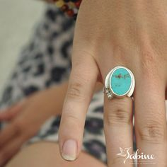 OOAK sterling silver and turquoise oval howlite by SabineJewelry