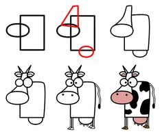 Cartoon Drawing Design I love this cartoon cow. So simple, so cute, so . Why do you think this cartoon animal seems so surprised? :) - How to draw funny cartoon cows with simple shapes and easy illustrated examples. Doodle Drawings, Cartoon Drawings, Easy Drawings, Animal Drawings, Doodle Art, Drawing Animals, Drawing Lessons, Drawing Techniques, Drawing Tips