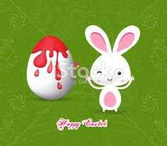 happy easter with bunny eggs painting colorful Royalty Free Stock Vector Art Illustration