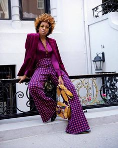 When you re-style incredible trousers with all purple because why the heck not? More gems I found from Link in bio 💜 . Black Women Fashion, Look Fashion, Womens Fashion, Purple Fashion, Street Style, Street Chic, Mode Outfits, Fashion Outfits, Fashion Trends