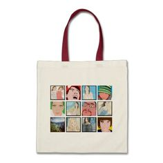 Instagram Mosaic Photo Personaliz Tote Bag Designs #colorbindery #zazzle #customizable #giftideas