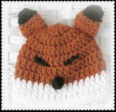 Baby Fox Hat, Foxy Loxy crocheted beanie, Fox Halloween Hat, Fox photo prop