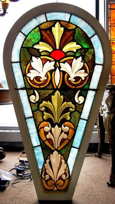 Antique Stained Glass Tear Drop Window