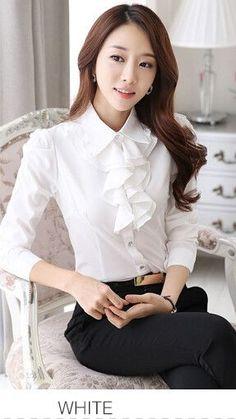 Long Sleeve Shirt Women Puff Sleeve Chiffon Ladies Fashion Office 8b1c512e4a37